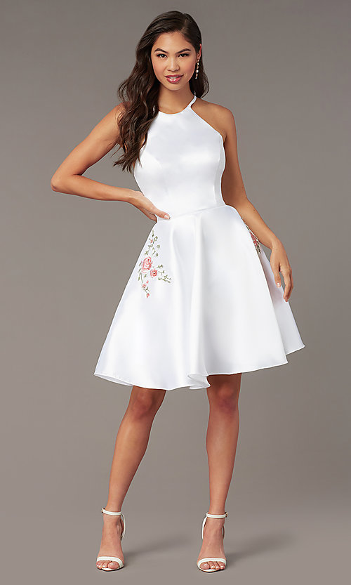 Image of back-corset short a-line homecoming party dress. Style: AL-3887 Detail Image 4
