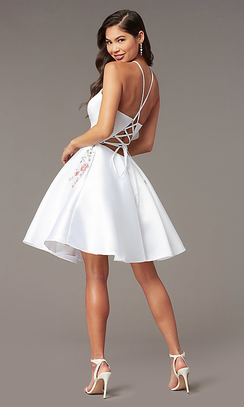 Image of back-corset short a-line homecoming party dress. Style: AL-3887 Detail Image 5