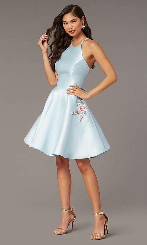 Image of back-corset short a-line homecoming party dress. Style: AL-3887 Detail Image 2