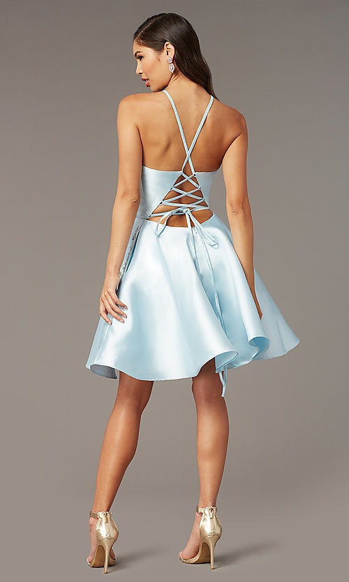 Image of back-corset short a-line homecoming party dress. Style: AL-3887 Detail Image 3