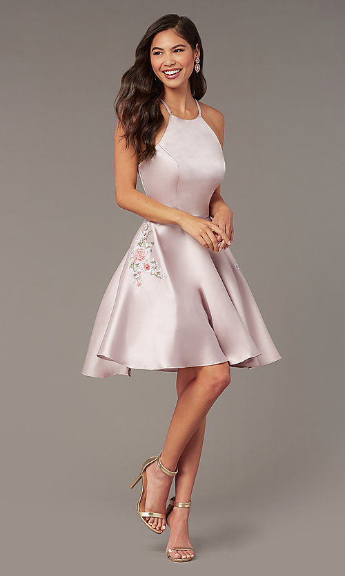Image of back-corset short a-line homecoming party dress. Style: AL-3887 Front Image