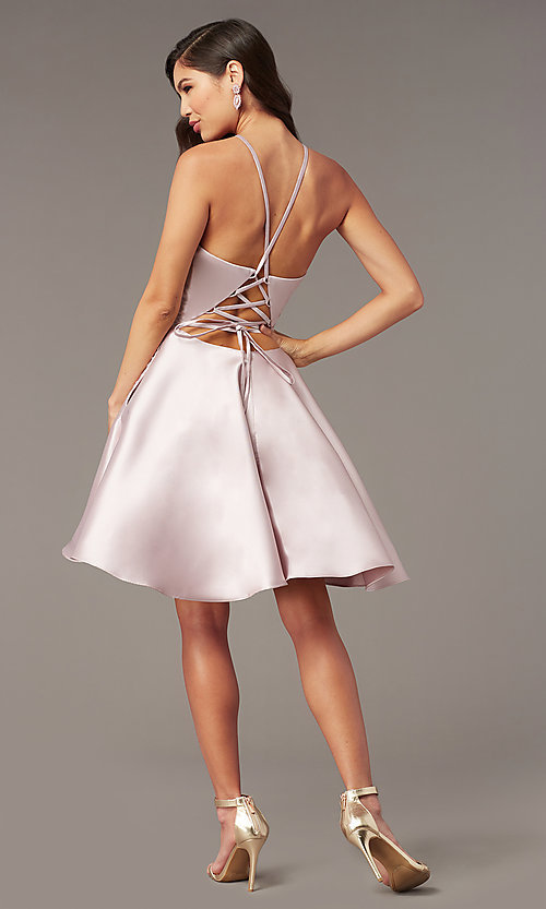 Image of back-corset short a-line homecoming party dress. Style: AL-3887 Back Image
