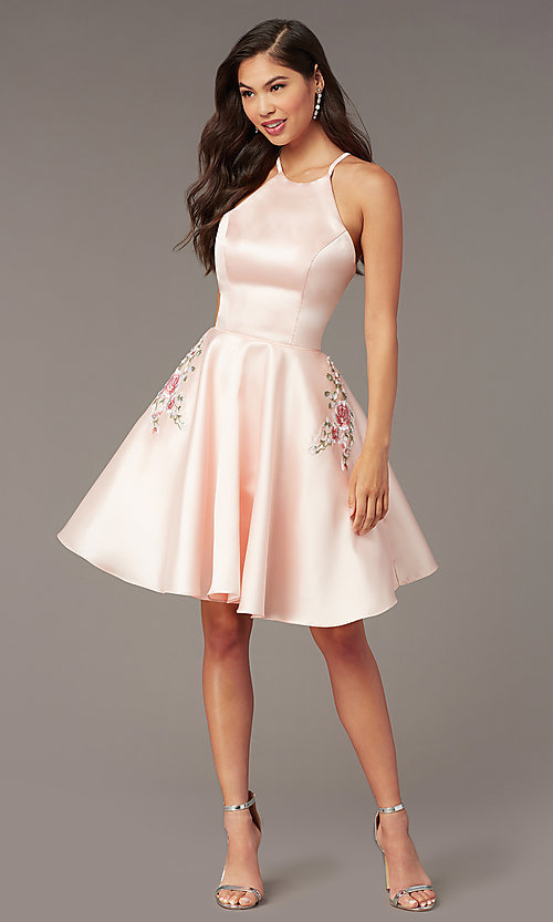 Image of back-corset short a-line homecoming party dress. Style: AL-3887 Detail Image 6