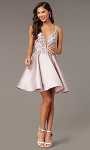 Image of fit-and-flare Alyce short homecoming party dress. Style: AL-3886 Front Image