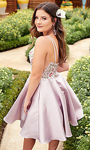 Image of fit-and-flare Alyce short homecoming party dress. Style: AL-3886 Detail Image 4