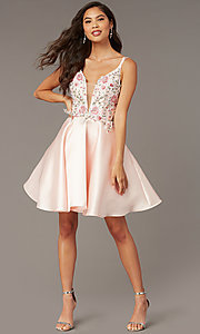 Image of fit-and-flare Alyce short homecoming party dress. Style: AL-3886 Detail Image 7