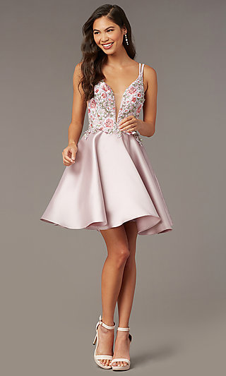 Fit-and-Flare Alyce Short Homecoming Party Dress