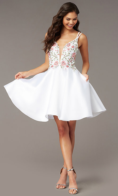 Image of fit-and-flare Alyce short homecoming party dress. Style: AL-3886 Detail Image 5