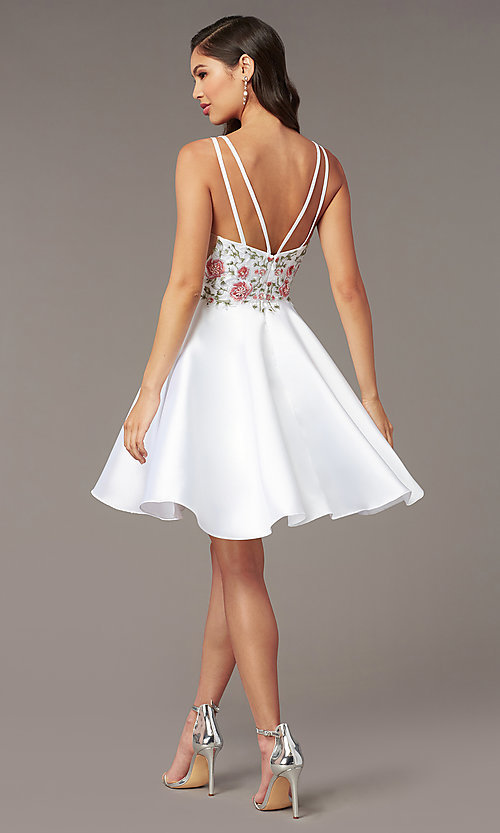 Image of fit-and-flare Alyce short homecoming party dress. Style: AL-3886 Detail Image 6