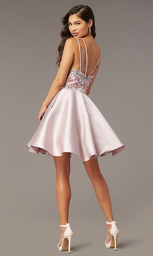 Image of fit-and-flare Alyce short homecoming party dress. Style: AL-3886 Back Image