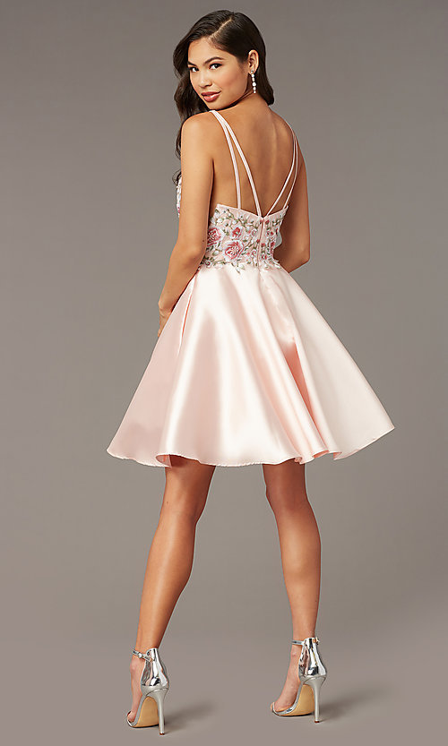 Image of fit-and-flare Alyce short homecoming party dress. Style: AL-3886 Detail Image 3