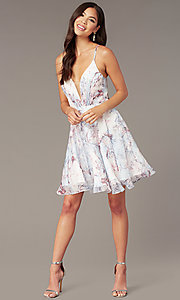 Image of short floral-print v-neck hoco dress by Alyce. Style: AL-3868-IB Front Image