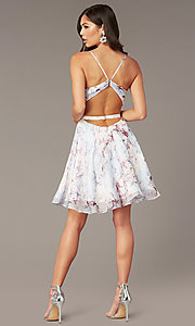 Image of short floral-print v-neck hoco dress by Alyce. Style: AL-3868-IB Back Image