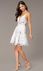 Image of short floral-print v-neck hoco dress by Alyce. Style: AL-3868-IB Detail Image 2