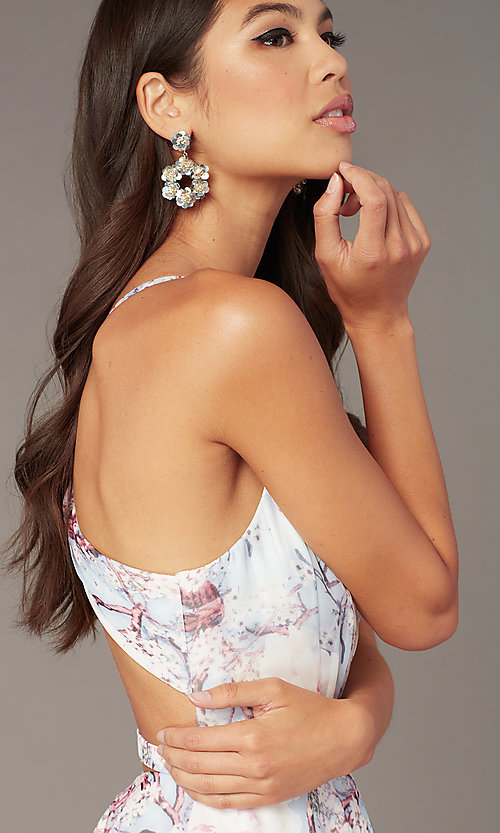 Image of short floral-print v-neck hoco dress by Alyce. Style: AL-3868-IB Detail Image 1