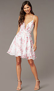 Image of blossom pink print short homecoming party dress. Style: AL-3868-BP Front Image