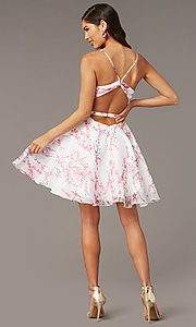 Image of blossom pink print short homecoming party dress. Style: AL-3868-BP Back Image