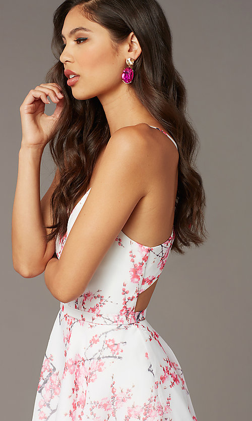 Image of blossom pink print short homecoming party dress. Style: AL-3868-BP Detail Image 1