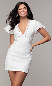 Image of eyelet-lace short white flutter-sleeve grad dress. Style: CHE-D16059CWP Front Image