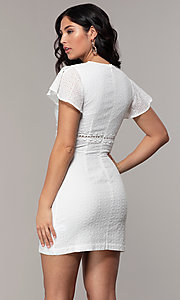 Image of eyelet-lace short white flutter-sleeve grad dress. Style: CHE-D16059CWP Back Image