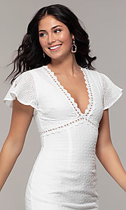 Image of eyelet-lace short white flutter-sleeve grad dress. Style: CHE-D16059CWP Detail Image 1