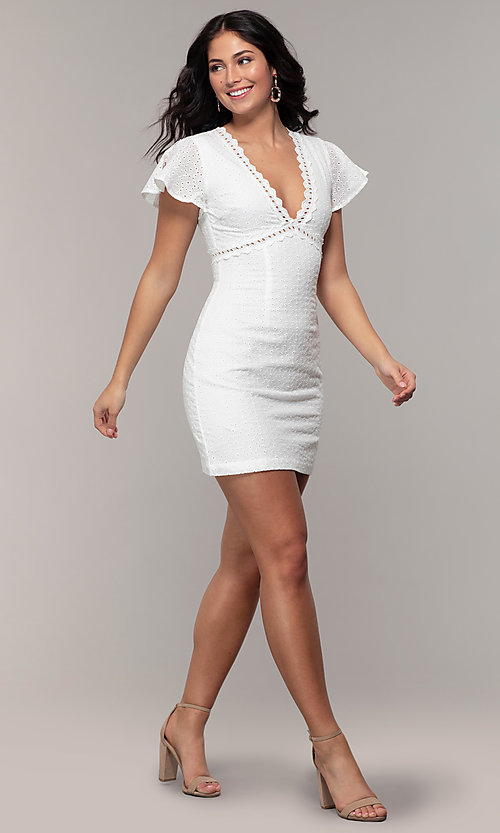 Image of eyelet-lace short white flutter-sleeve grad dress. Style: CHE-D16059CWP Detail Image 3