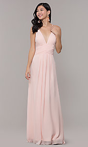Image of Simply long chiffon formal dress in blush pink. Style: MCR-SD-3047b Front Image