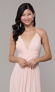 Image of Simply long chiffon formal dress in blush pink. Style: MCR-SD-3047b Detail Image 1