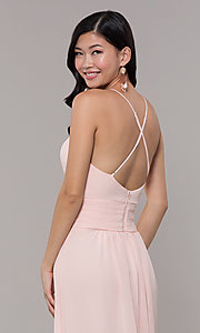 Image of Simply long chiffon formal dress in blush pink. Style: MCR-SD-3047b Detail Image 2