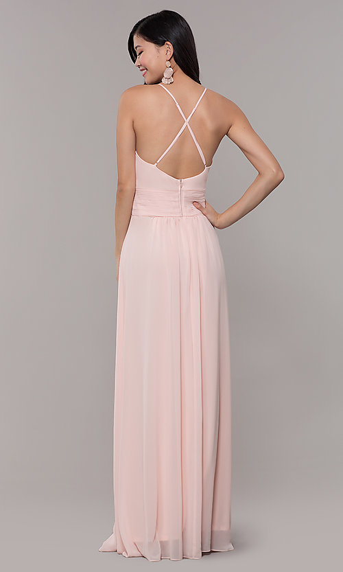 Image of Simply long chiffon formal dress in blush pink. Style: MCR-SD-3047b Back Image