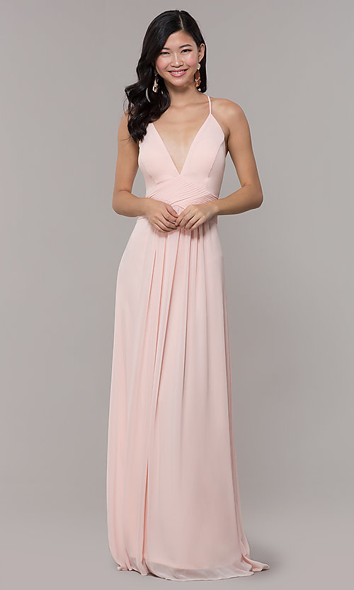Image of Simply long chiffon formal dress in blush pink. Style: MCR-SD-3047b Detail Image 3