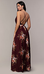 Image of long burgundy floral-print formal dress by Simply. Style: LP-SD-MG20031b Back Image