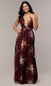 Image of long burgundy floral-print formal dress by Simply. Style: LP-SD-MG20031b Detail Image 2