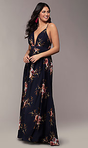 Image of long burgundy floral-print formal dress by Simply. Style: LP-SD-MG20031b Detail Image 3