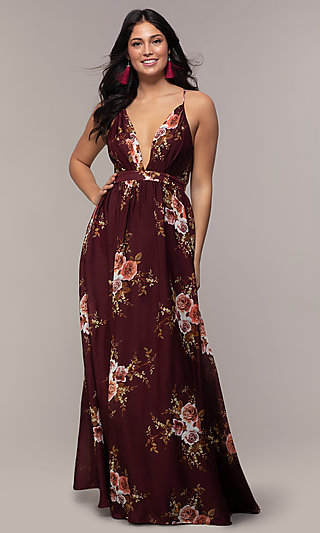 Long Burgundy Floral-Print Formal Dress by Simply