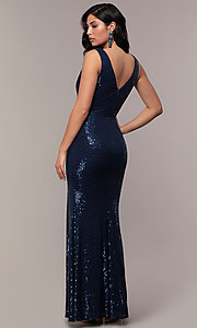 Image of v-neck long rose gold sequin prom dress by Simply. Style: LP-SD-26114r Back Image