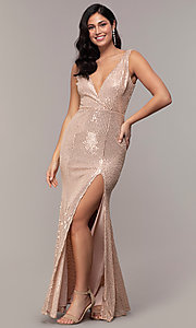 Image of v-neck long rose gold sequin prom dress by Simply. Style: LP-SD-26114r Detail Image 3