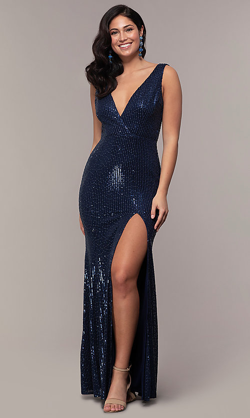 Image of v-neck long rose gold sequin prom dress by Simply. Style: LP-SD-26114r Front Image