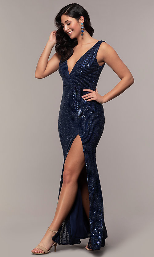 Image of v-neck long rose gold sequin prom dress by Simply. Style: LP-SD-26114r Detail Image 2
