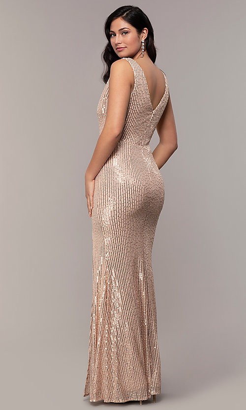 Image of v-neck long rose gold sequin prom dress by Simply. Style: LP-SD-26114r Detail Image 4