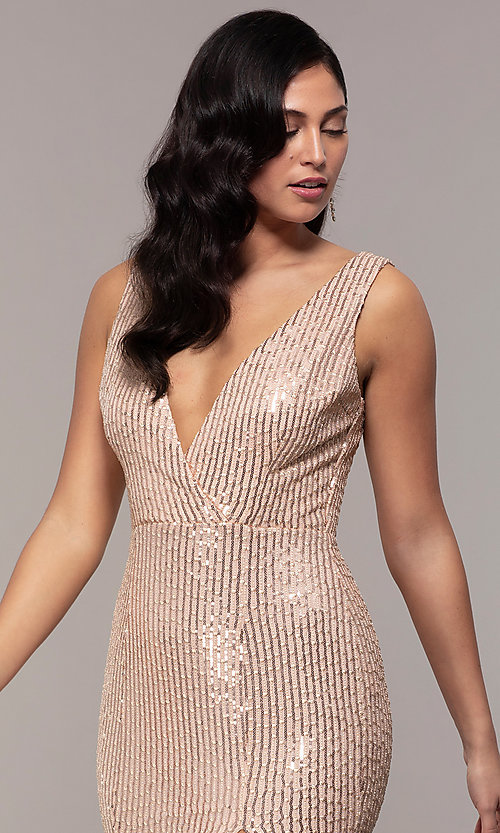 Image of v-neck long rose gold sequin prom dress by Simply. Style: LP-SD-26114r Detail Image 5