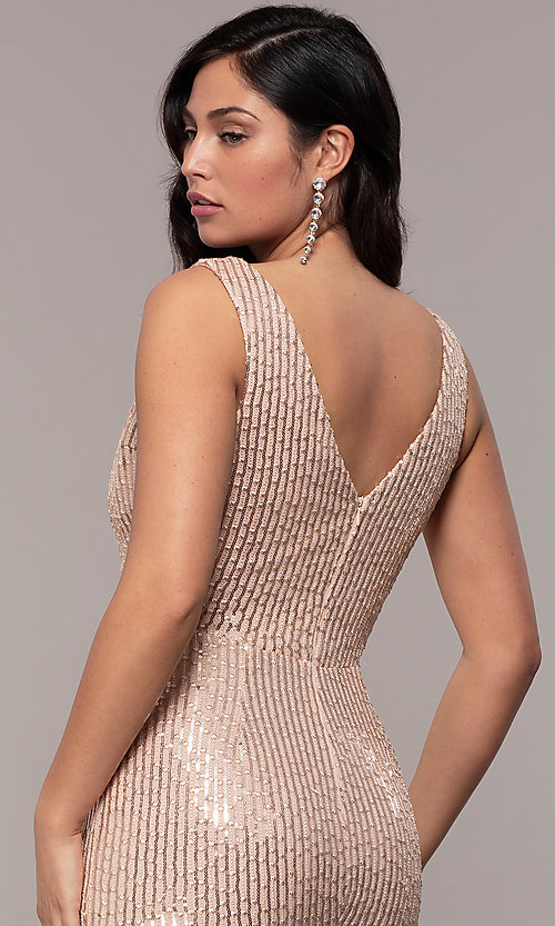 Image of v-neck long rose gold sequin prom dress by Simply. Style: LP-SD-26114r Detail Image 6