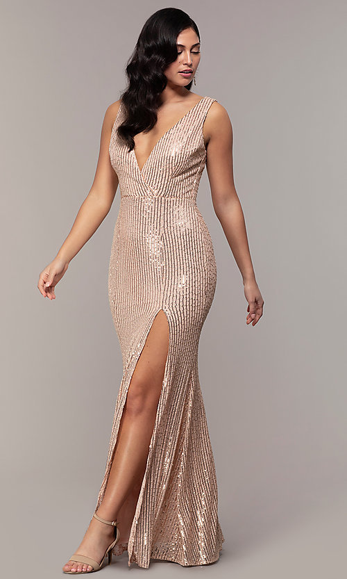 Image of v-neck long rose gold sequin prom dress by Simply. Style: LP-SD-26114r Detail Image 7