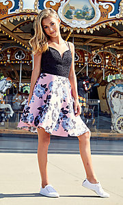 Image of short floral-print a-line dress for homecoming. Style: CT-3622BD3AT3 Detail Image 3