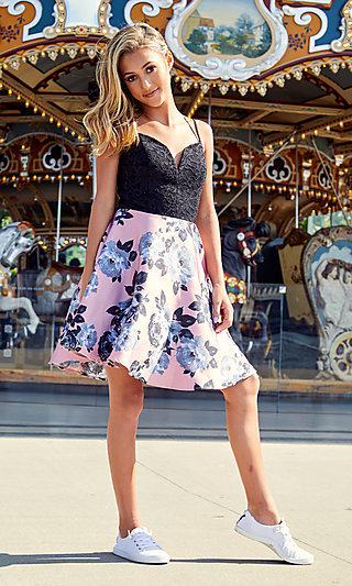 Short Floral-Print A-Line Dress for Homecoming