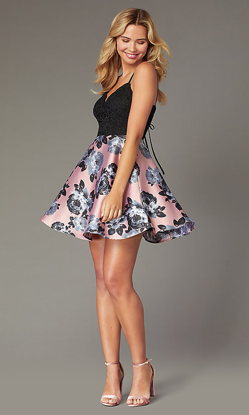 Image of short floral-print a-line dress for homecoming. Style: CT-3622BD3AT3 Detail Image 1