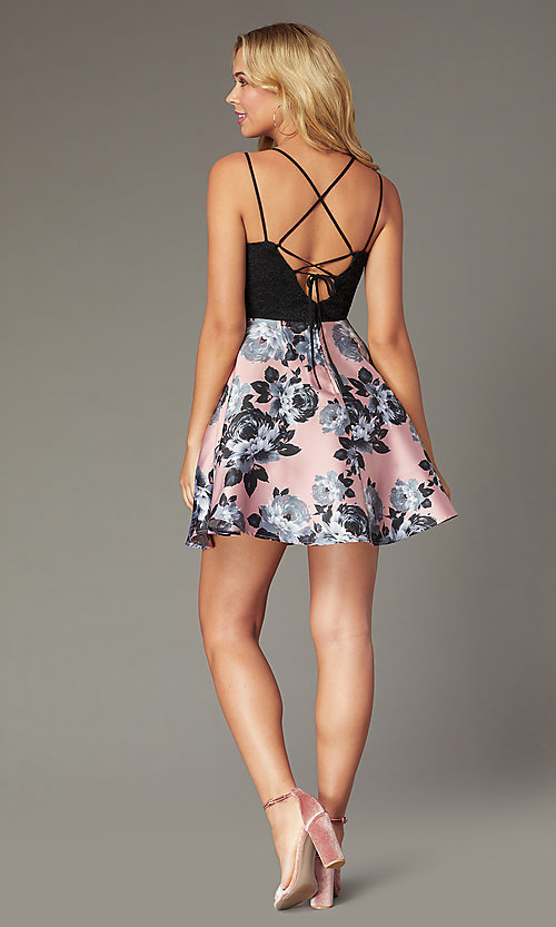 Image of short floral-print a-line dress for homecoming. Style: CT-3622BD3AT3 Detail Image 2