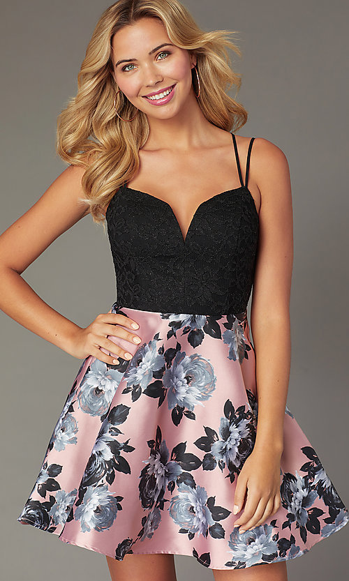 Image of short floral-print a-line dress for homecoming. Style: CT-3622BD3AT3 Front Image