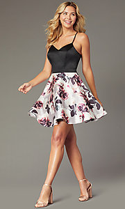 Image of short homecoming dress with floral-print skirt. Style: CT-5752QA8DT3 Front Image