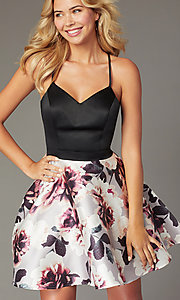 Image of short homecoming dress with floral-print skirt. Style: CT-5752QA8DT3 Detail Image 1